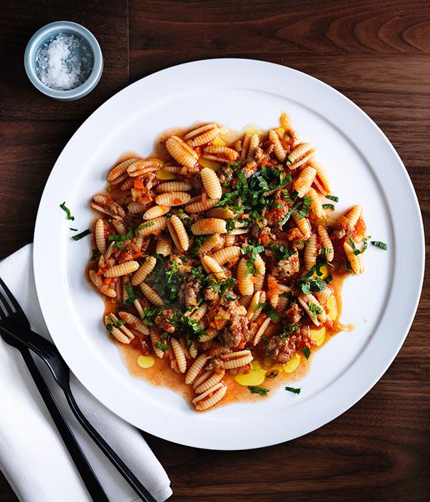 """**[Luca's gnocchetti Sardi with pork and fennel sausage ragù, anchovy and mint](https://www.gourmettraveller.com.au/recipes/chefs-recipes/lucas-gnocchetti-sardi-with-pork-and-fennel-sausage-ragu-anchovy-and-mint-8568