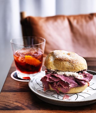 Luca's corned beef buns with horseradish, parmesan and walnut sauce