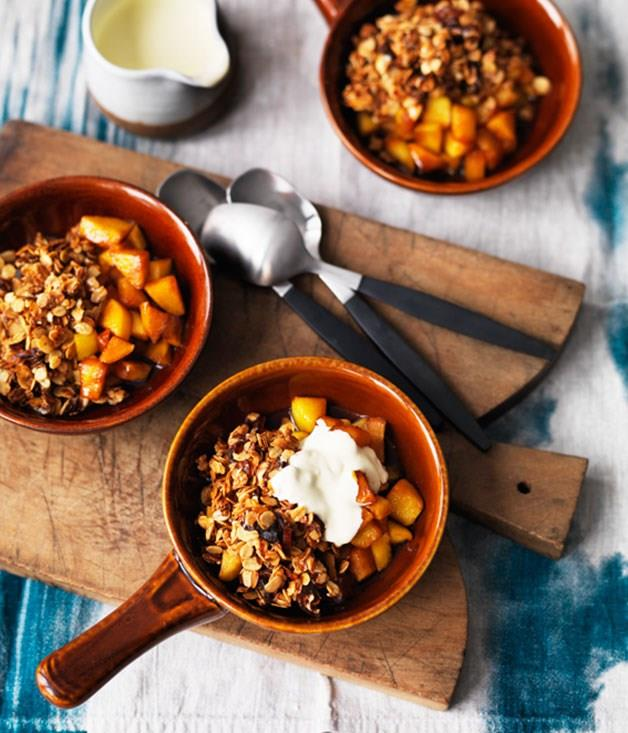 "[**Baked apple, soy caramel, crumble and cream**](https://www.gourmettraveller.com.au/recipes/browse-all/baked-apple-soy-caramel-crumble-and-cream-11333|target=""_blank"")"