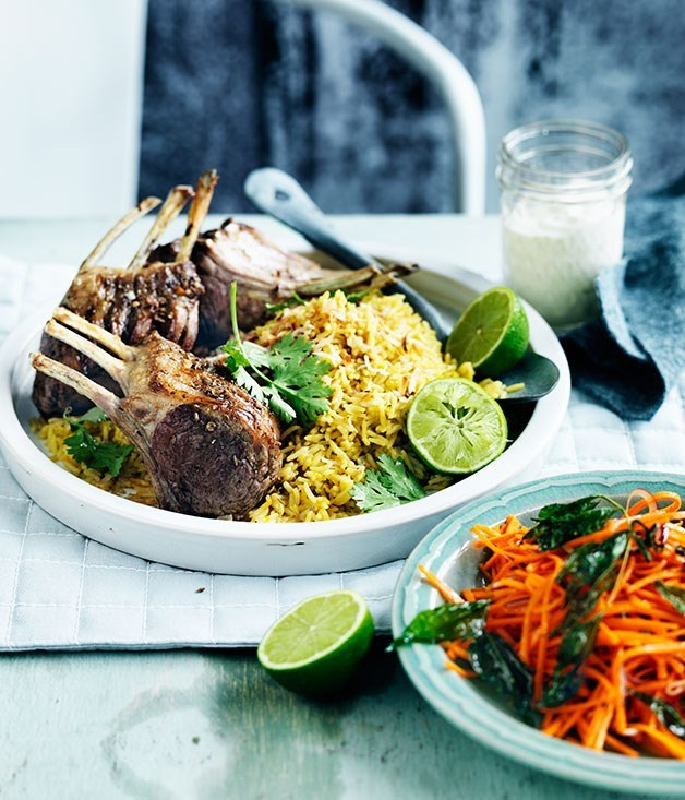 **Spiced lamb rack with coconut saffron pilaf**