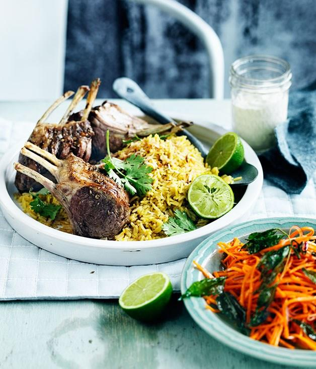 **Spiced lamb rack with coconut saffron pilaf**