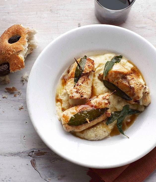 **Chicken involtini with white polenta**