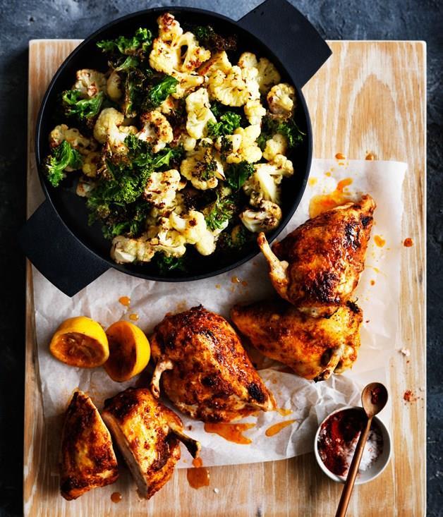 **Roast chilli chicken with cauliflower and kale**