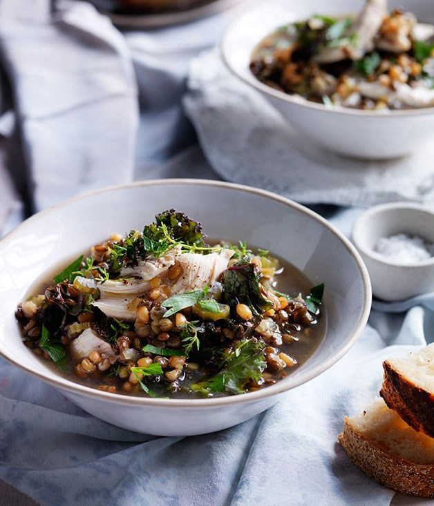"[**Chicken, lentil and kale soup**](https://www.gourmettraveller.com.au/recipes/browse-all/chicken-lentil-and-kale-soup-11971|target=""_blank"")"