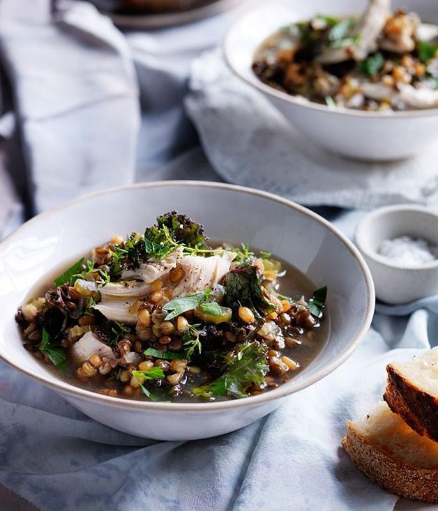 **Chicken, lentil and kale soup**