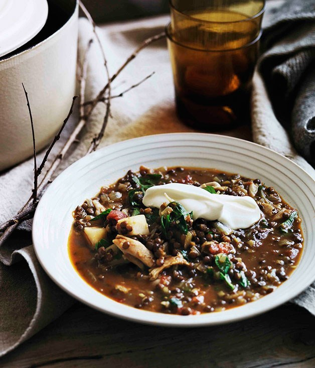 "[**Spiced chicken, tomato and lentil soup**](https://www.gourmettraveller.com.au/recipes/browse-all/spiced-chicken-tomato-and-lentil-soup-11312|target=""_blank"")"