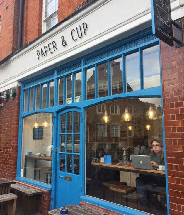 "**PAPER & CUP** ""A great not-for-profit coffee shop that gives proceeds back to Spitafields Crypt Trust. The coffee is delicious, the pastries are warm and soft and you feel good handing your money over knowing it's going to a good cause. Plus, the shopping around East London requires a strong coffee to keep you going.""  [paperandcup.co.uk](http://www.paperandcup.co.uk/)"
