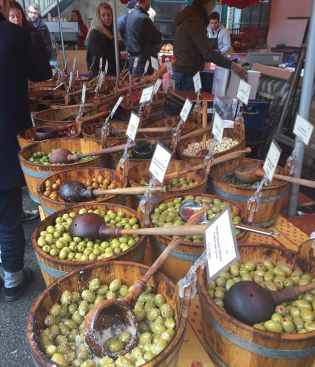 "**OLIVES AT SHOREDITCH MARKET ON A SUNDAY** ""There are plenty of other things at the Columbia Road Flower Markets other than flowers! We picked up a selection of olives while sipping on mulled wine here."""