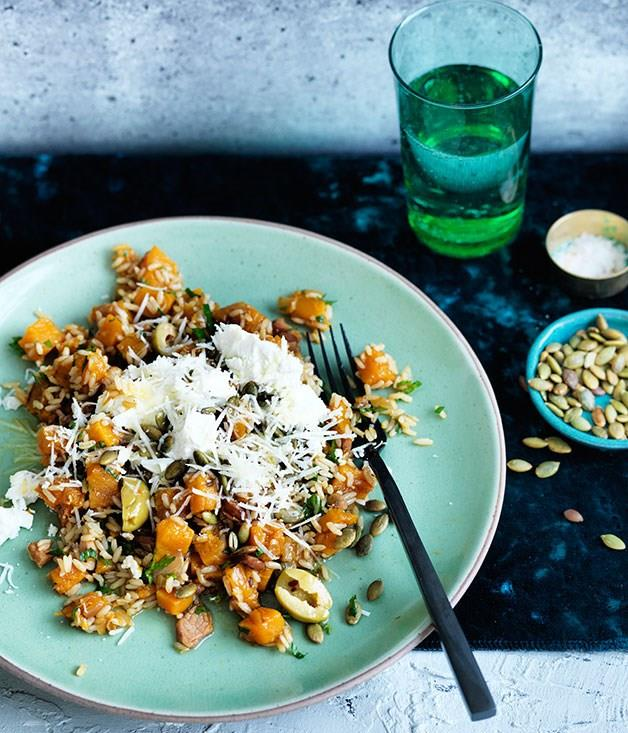 **Pumpkin with brown rice and toasted seeds**