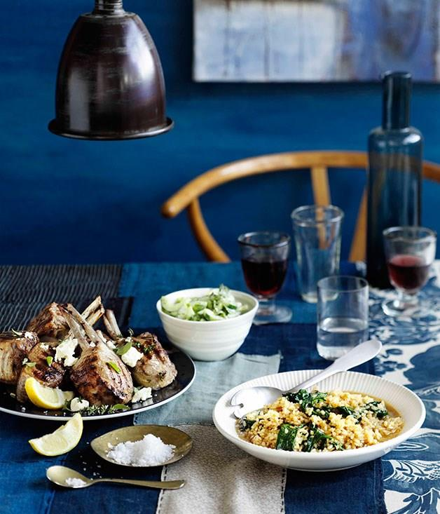 **Lamb cutlets with lemon, feta and brown rice and spinach pilaf**
