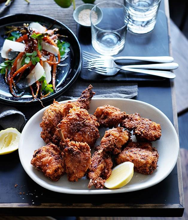 "[**Ester's fried rabbit**](https://www.gourmettraveller.com.au/recipes/chefs-recipes/fried-rabbit-8035|target=""_blank"")"