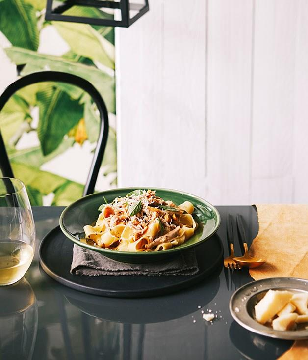 "[**Tippo 00's pappardelle with braised rabbit, marjoram and hazelnuts**](https://www.gourmettraveller.com.au/recipes/chefs-recipes/pappardelle-with-braised-rabbit-marjoram-and-hazelnuts-9234|target=""_blank"")"