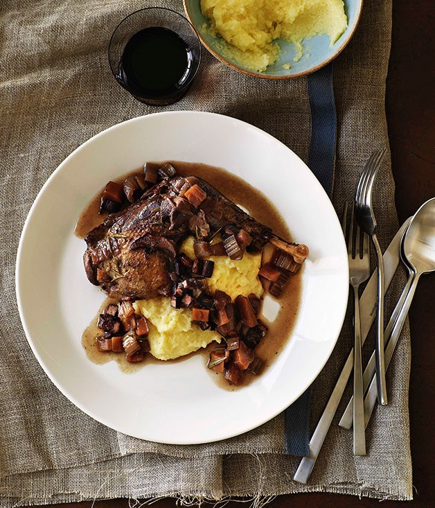 "[**Red wine-braised pheasant with polenta**](https://www.gourmettraveller.com.au/recipes/browse-all/red-wine-braised-pheasant-with-polenta-9663|target=""_blank"")"