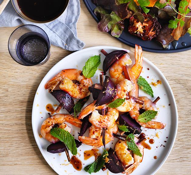 Grant Achatz's grilled prawns and beetroot with chilli and smouldering cinnamon