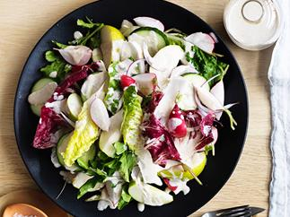 Grant Achatz's cucumber, orchard fruits and lettuces with white sesame, white pepper and white miso dressing