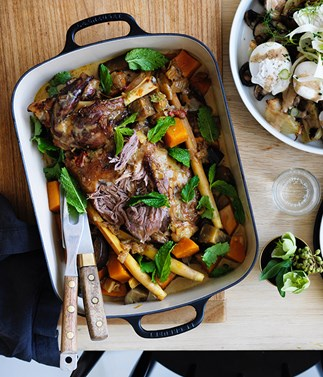 Grant Achatz's braised lamb shoulder with cocoa and cardamom recipe