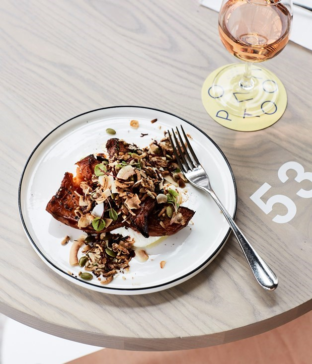 **Sweet potato with goat's curd, seeds and grains**