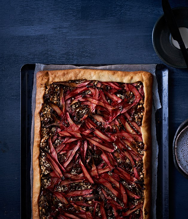 """**[Rhubarb and chocolate tart](http://www.gourmettraveller.com.au/recipes/browse-all/rhubarb-and-chocolate-tart-12744 target=""""_blank"""")**"""
