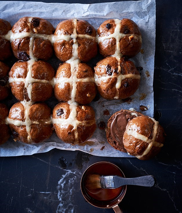 **Choc-cross buns** The purists among us may be horrified at the thought of including chocolate in hot-cross buns, but we're all for combining Easter's big treats.