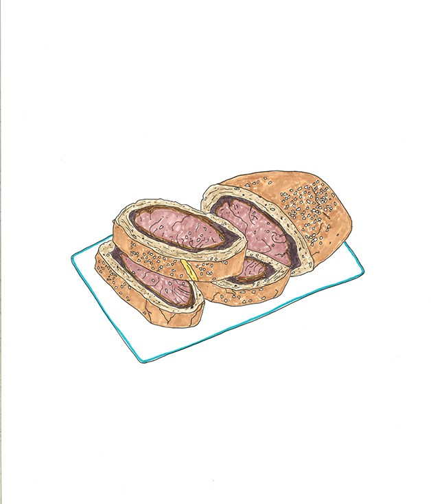 **1996** Tony Bilson's fillet of beef roasted in red wine shallot bread.