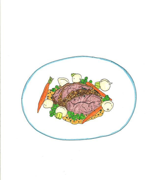 **1998** Hermann Schneider's aged lamp rump with chermoula poached in reduced stock flavoured with sherry.