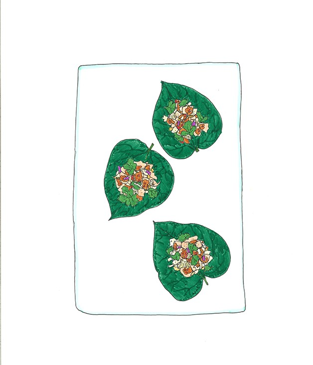 **2000** David Thompson'sprawn and pomelo on betel leaves.