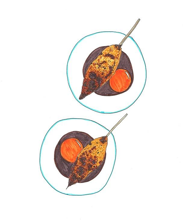 **2015** Matt Abergel's yardbird tsukune served with egg yolk, tare sauce.