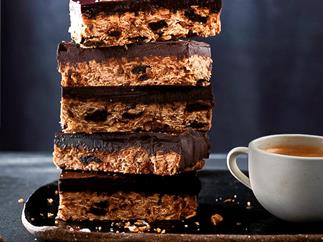 Chocolate, sour-cherry and oat slice