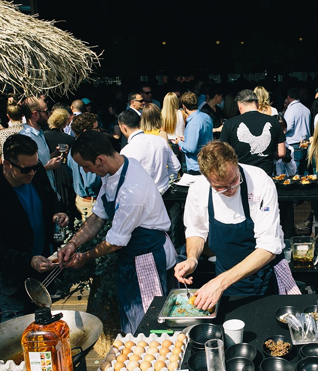**Open kitchen** Chefs made the most of Melbourne's autumn afternoon sunshine by cooking outside.
