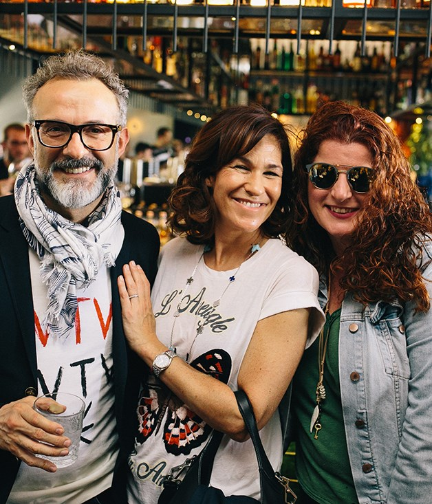 **All-Stars** From left: Osteria Francescana's Massimo Bottura and Lara Gilmore, with Lotus Communications' Monica Brown.