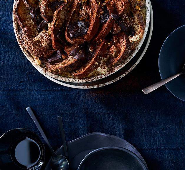 Bread and butter pudding with ricotta and chocolate