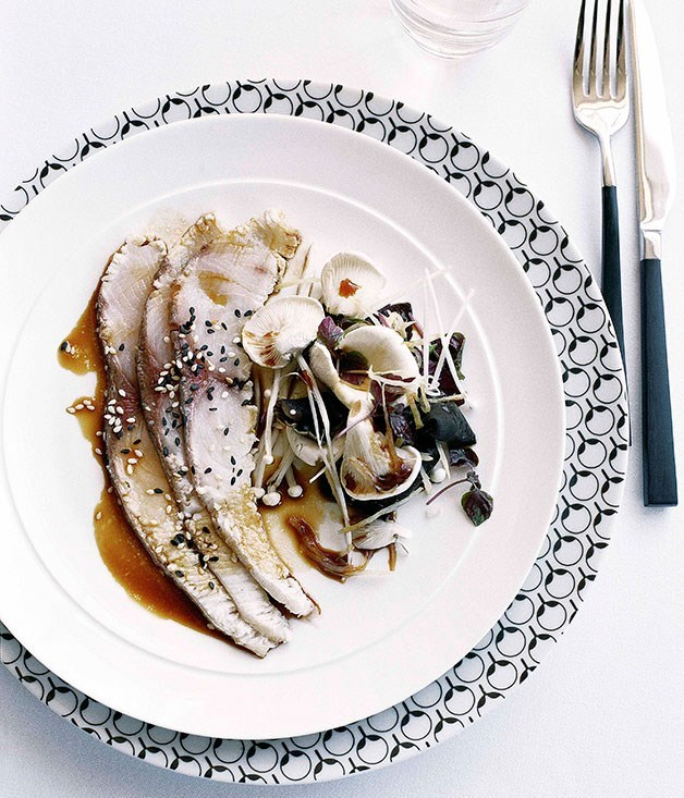 **Seared kingfish with mushrooms, black fungi, pickled ginger and sesame dressing**