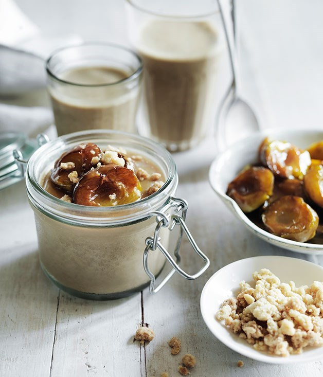 "[**Baked greengages with liquorice panna cotta and ginger crumb**](https://www.gourmettraveller.com.au/recipes/browse-all/baked-greengages-with-liquorice-panna-cotta-and-ginger-crumb-11931|target=""_blank"")"