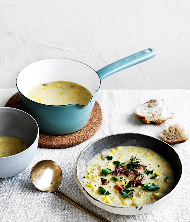 "**[Smoked bacon, potato and corn chowder](https://www.gourmettraveller.com.au/recipes/fast-recipes/smoked-bacon-potato-and-corn-chowder-13808|target=""_blank"")**"