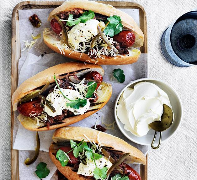 Chilli dogs with pickled jalapeño and coriander recipe
