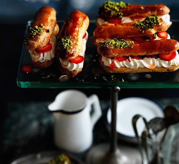 Crushed strawberry and pistachio éclair