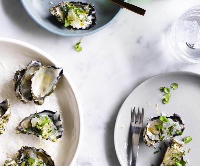 Grilled oysters with tapioca recipe