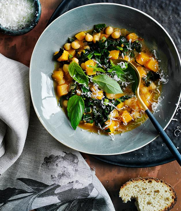 "**[Chickpea, pumpkin and cavolo nero soup](https://www.gourmettraveller.com.au/recipes/browse-all/chickpea-pumpkin-and-cavolo-nero-soup-12765|target=""_blank"")**"