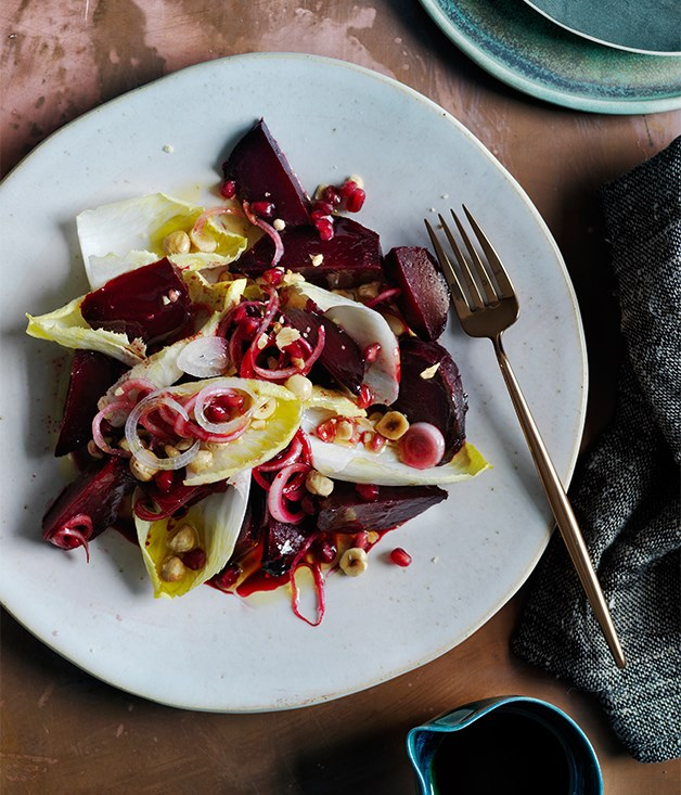 Beetroot salad with sweet and sour dressing recipe