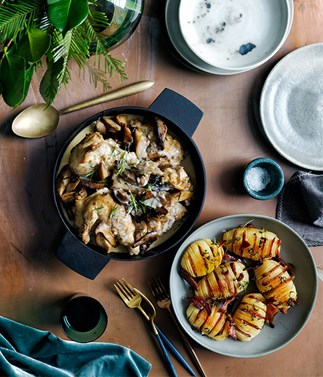 Braised chicken with mushrooms recipe