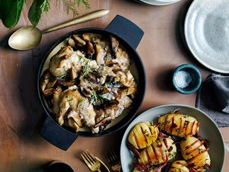 Braised chicken with mushrooms recipe