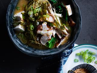 Miso noodle soup with mushroom and ginger recipe