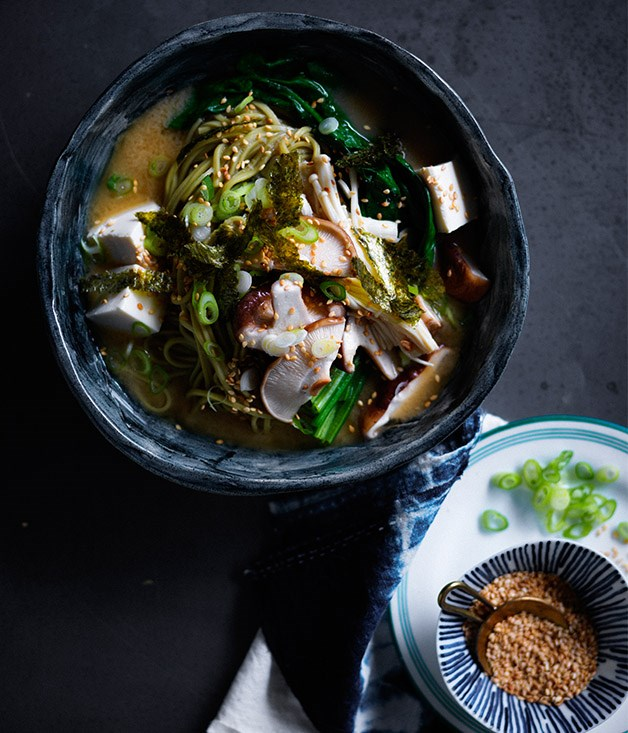 "**[Miso noodle soup with mushrooms and ginger](https://www.gourmettraveller.com.au/recipes/fast-recipes/miso-noodle-soup-with-mushrooms-and-ginger-13817|target=""_blank"")**"