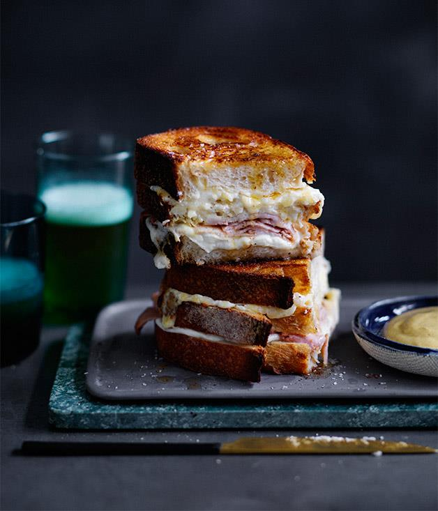 "**[Five-cheese and ham triple-decker toastie](https://www.gourmettraveller.com.au/recipes/fast-recipes/five-cheese-and-ham-triple-decker-toastie-13819|target=""_blank"")**"
