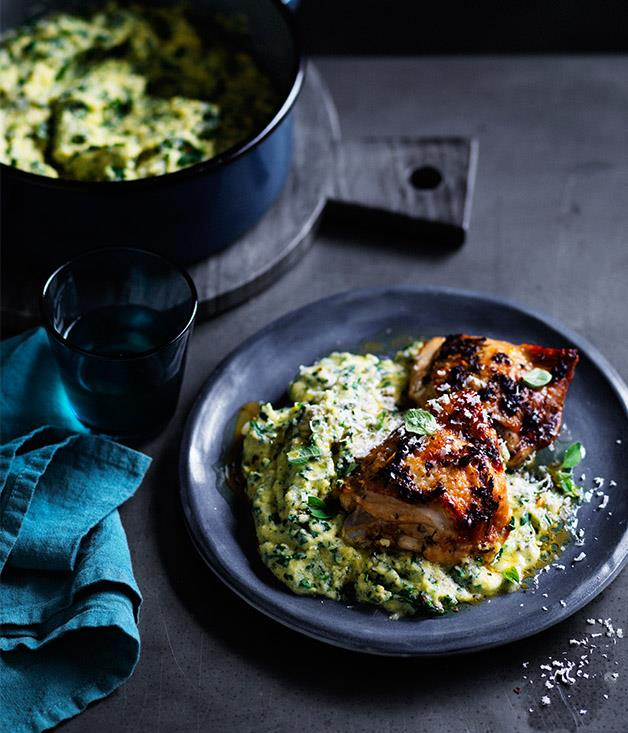 "**[Roast chicken thighs with green polenta](http://www.gourmettraveller.com.au/recipes/fast-recipes/roast-chicken-thighs-with-green-polenta-13816|target=""_blank"")**"