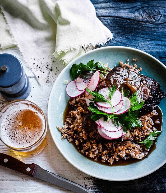 **Beer-glazed beef short ribs with farro salad**