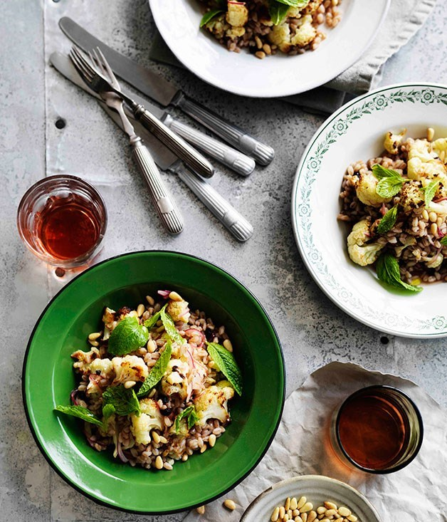 **Roast cauliflower and farro salad with agrodolce dressing**
