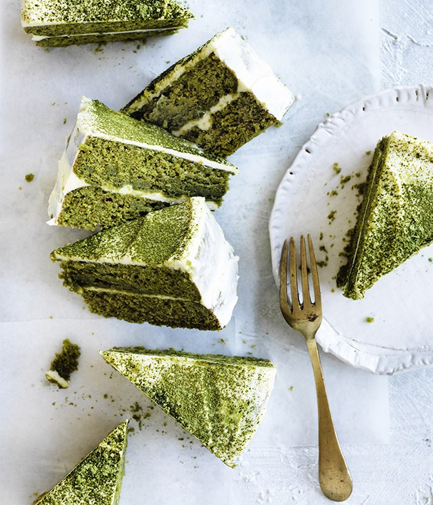 Matcha layer cake with white chocolate cream recipe