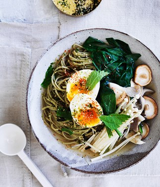Matcha noodles with miso broth and soft egg recipe