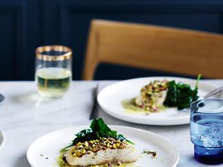 Grilled fish with green olive and pistachio recipe